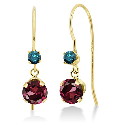 Gem Stone King 1.33 Ct Round Red Rhodolite Garnet Blue Diamond 14K Yellow Gold Earrings