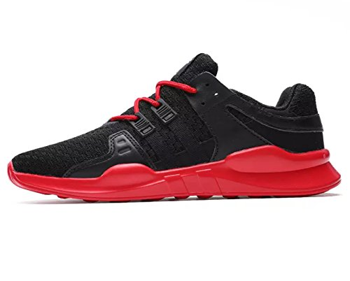 ECOTISH Men's Casual Breathable Sports Shoe Athletic Lace Up Fashion Sneakers Lightweight Running Shoe Blackred pt3352T7N