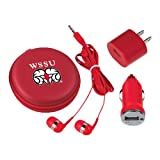 CollegeFanGear Winston Salem 3 in 1 Red Audio Travel Kit 'WSSU Ram'