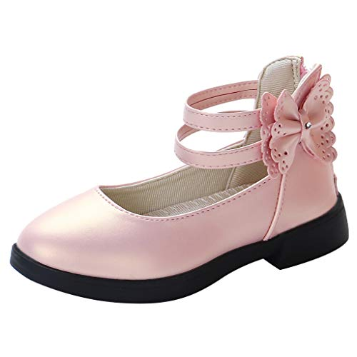 Peize Baby Girls Bowknot Sandals Toddler Soft Sole Anti-Slip First Walkers Breathable Closed-Toe Sweet Dress Shoes Pink (6 Heeled Inch 1/2 High)