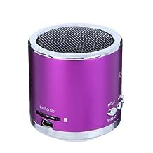 Kingzer Mini enceinte Micro SD/TF un amplificateur Audio, lecteur MP3/Mp4 Purple