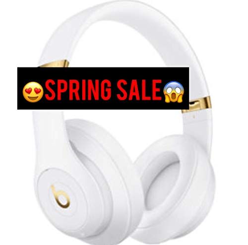 Beats S t u d i o 3 Wireless Over The Ear Headphones in White - Gold with Carrying case and Universal USB Charging Cable (USB-A to USB Micro-B) (Beats Studio Wireless Over Ear Headphone Gold)