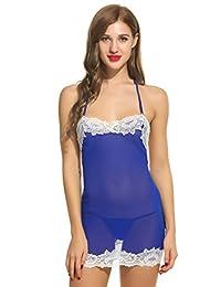 Avidlove Women Sheer Lace Mesh Bodycon Babydoll Chemises Dress String Lingerie