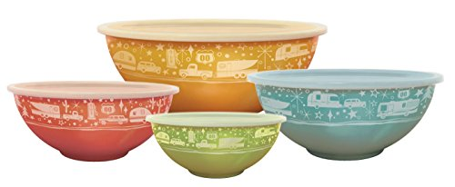 Camp Casual CC-006 Multicolor Nesting Bowl with Lids, Set of (4 Stacking Bowls)