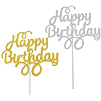 Timoo 12 PCS Happy Birthday Cake Topper Silver Glitter Gold Cake Decoration Supplies