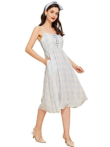 - Milumia Women's Vintage Tie Shoulder Spaghetti Strap Plaid Short A Line Swing Dress Medium Multicolor