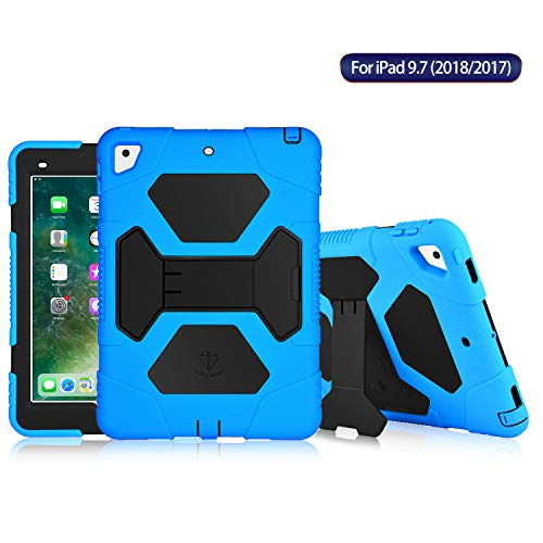 ACEGUARDER New iPad 9.7 2017/2018 Case [Impact Resistant] [Shockproof] [Heavy Duty] Full Body Rugged Protective Smart Cover with Kickstand & Dual Layer Design for New iPad 9.7 inch (Blue/Black)