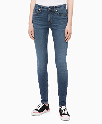 Calvin Klein Women's Mid Rise Super Skinny Fit Jeans, Malibu Blue, 26W X 32L