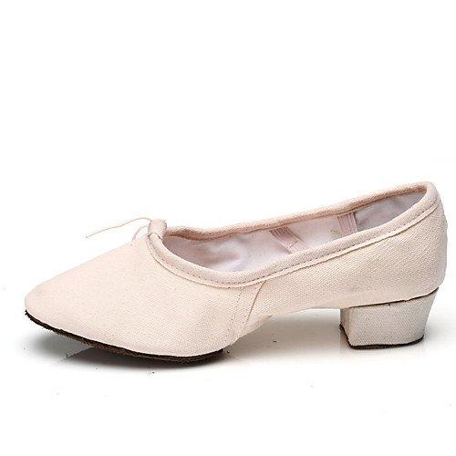 T.T-Q Zapatos de Baile de Las Mujeres Ballet para Maestros Lienzo Tacón Plano Negro Rosa Rojo Sandalias Latinas Salsa Jazz Tango Swing Practice Rendimiento Interior rojo