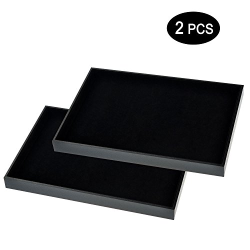Ginasy Black Velvet Stackable Jewelry Tray Showcase Display(Jewelry Showcase 2PCS)