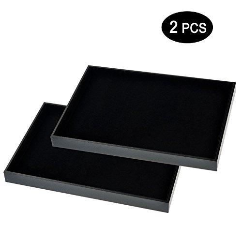 Trays Jewelry Drawer - Ginasy Black Velvet Stackable Jewelry Tray Showcase Display(Jewelry Showcase 2PCS)