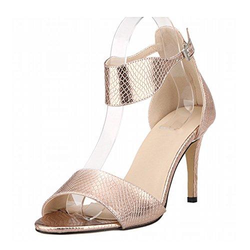 Haodasi New Frau Damen High Heels Peep Toe Gürtel Schnalle Krokodil Muster Sandalen Schuhe Copper