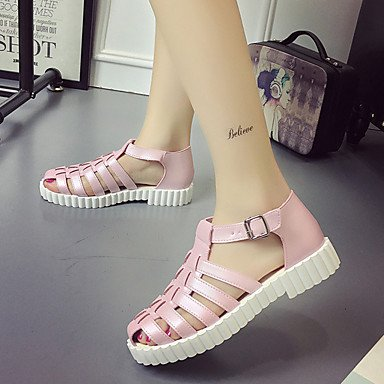 LvYuan Mujer-Tacón Plano-Confort-Sandalias-Exterior Vestido Informal-PU-Rosa Blanco Pink