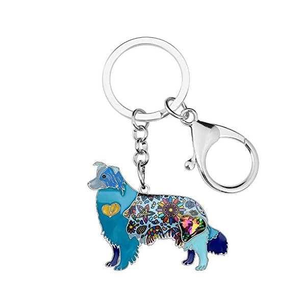 Collie Keychain Rhinestone Border Collie Key Chains Unique Dog Pendant Animal Pet Jewelry Bag Purse Charm for Women & Girls Valentine Gifts 3