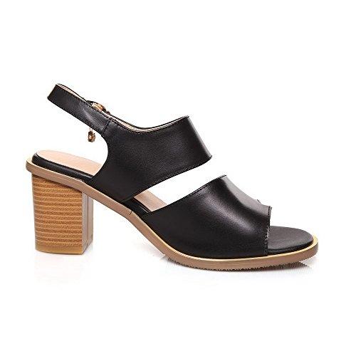 AmoonyFashion Womens Buckle Split Toe High-Heels Cow Leather Solid Sandals Black OeN9hLrMRr