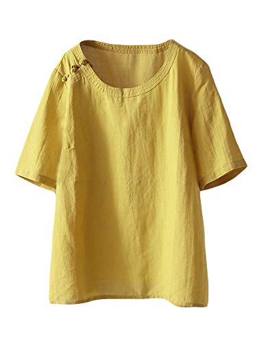 (Mordenmiss Women's Cotton Linen Tops Short Sleeve Retro Chinese Frog Button Blouse Casual Loose T Shirt Yellow 2XL)