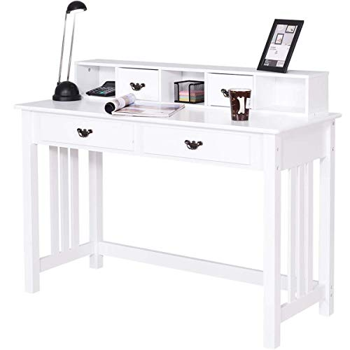 Distressed White Magazine Table - Trustiwood Writing Desk Home Office Computer Table with 4 Drawer Makeup Vanity Table Home Mission Desk Console Table with Removable Organizers (White)