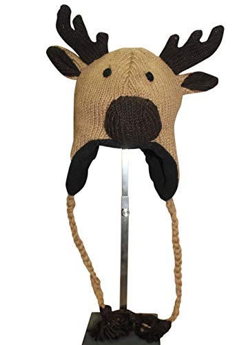 Sherpa Love Hand Knit Unisex Wool Animal Beanie Hat Cap Ear Flap Fleece Lined Nepal (Youth/Adult, Moose)]()