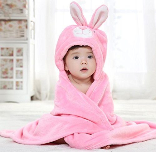 BRANDONN Newborn 3-in-1 Rabbit Wrapper Baby Bath Towel (Pink)