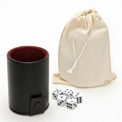 WE Games Luxury Brown Leather Dice Cup with Dice and Storage by Wood Expressions