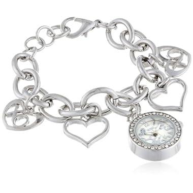 XOXO Women's XO7007 Silver Dial Silver-tone Charm Bracelet Watch