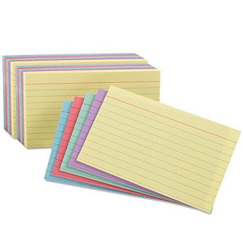 Oxford Index Cards, Assorted Colors, 5 x 8, Ruled, 2 Pack of 100 - Color Coded Cardstock Colored