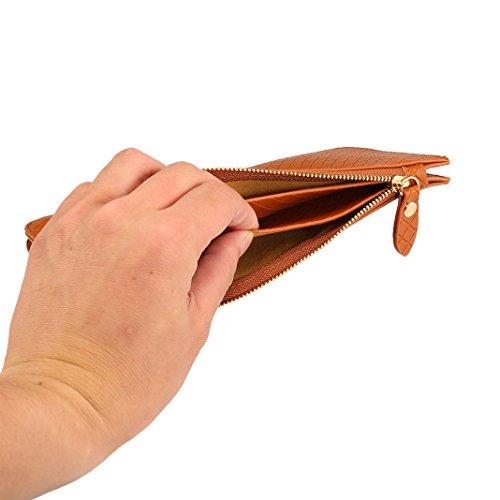 Umhängetasche Damen, Phone Tasche Rosa Schleife Mode Praktische Leder Handy Tasche Handtasche Geldbörse Portemonnaie mit Zwei Fächern Schultertasche fit für Alle Smartphone unter 6.5 Zoll Rot Braun