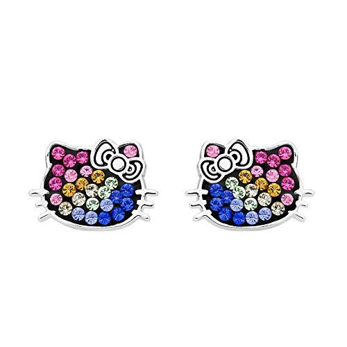 Hello Kitty Rainbow Crystal Silver Plated Stud Earrings