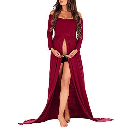 Maternity Blackless Dress Off Shoulder Long Sleeve Split Dress for Photo Shoots Red