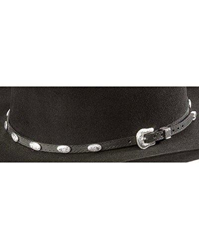 M & F Western Men's Concho Embellished Leather Hat Band Black One Size