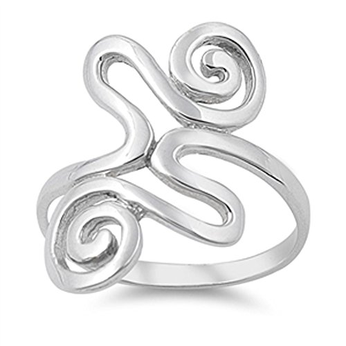 - Tribal Wave Boho Wide Spiral Ring New .925 Sterling Silver Band Size 11