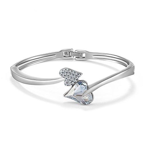 JOUDOO Crystal Heart Shape Bracelet Diamond Gold Plated Bangle Platinum Woman Hand Chain (platinum)