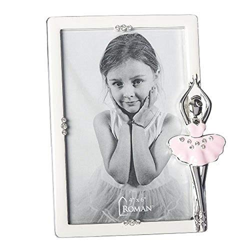 Twirling Pink Ballerina Jewel Tone Accents 6 x 7.75 Zinc Alloy Oval Photo Frame