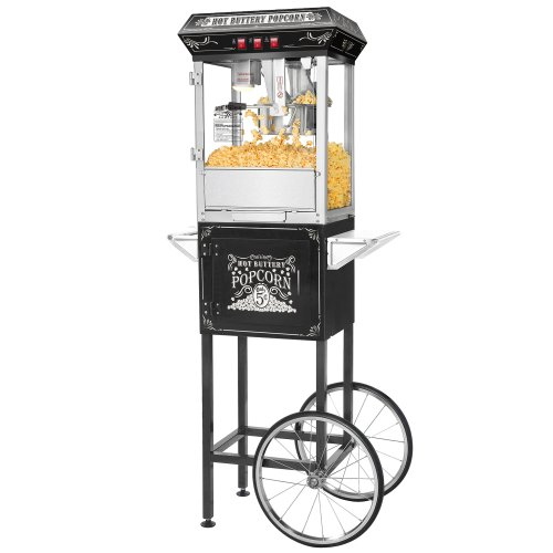 great-northern-black-good-time-8oz-full-popcorn-popper-machine-w-cart-8-ounce