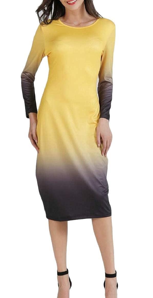 Ptyhk RG Women Slim Fit Gradient Color Dress Fashion Long Sleeve Pencil Midi Dress