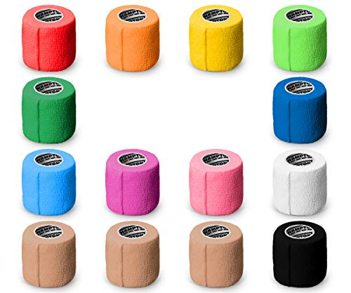 (14-Pack) Self Adhesive Non Woven Bandage Wrap - Breathable Self Adherent Wrap for Pets - Athletic Elastic Cohesive Bandage for Sports Injury: Ankle, Knee & Wrist sprains (Rainbow)