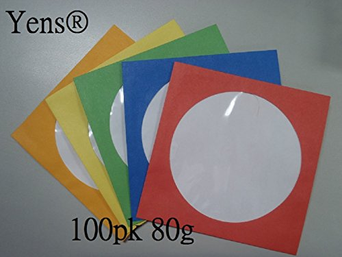 Yens 100 pk Color CD DVD Paper Sleeves Envelopes with Flap and Clear Window - Sleeve Window Paper Color Cd