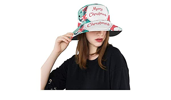 Happy New Year Winter Christmas Santa New Summer Unisex Cotton Fashion Fishing Sun Bucket Hats for Kid Teens Women and Men with Customize Top Packable Fisherman Cap for Outdoor Travel