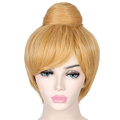 ColorGround Women's Short Blonde Cosplay Costume Wig with Bun ()