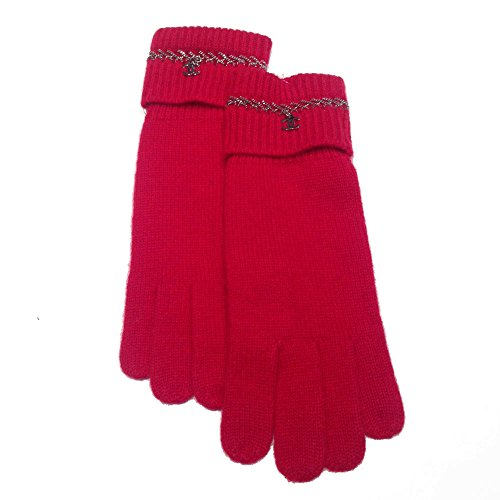 Chanel Red Cashmere Chain Detail Gloves with CC Logo by CHANEL