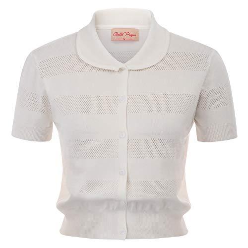 - Women White Knit Shrug Short Sleeve Summer Cropped Cardigan Top, Medium