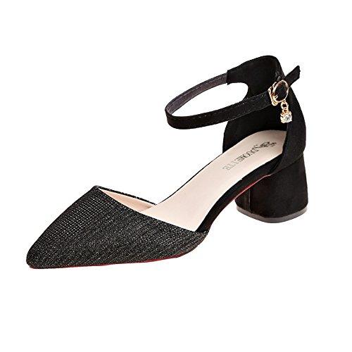 Noir Pour Estivale Avec Mode Boucles Trente quatre Baotou Femmes Sandales Chaussures Grossires HznqwZ6q