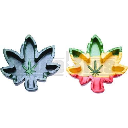 ASHTRAY-POLY-RESIN-CIGARETTE-8-PER-PACK-ASSORTED-MARIJUANA-LEAF