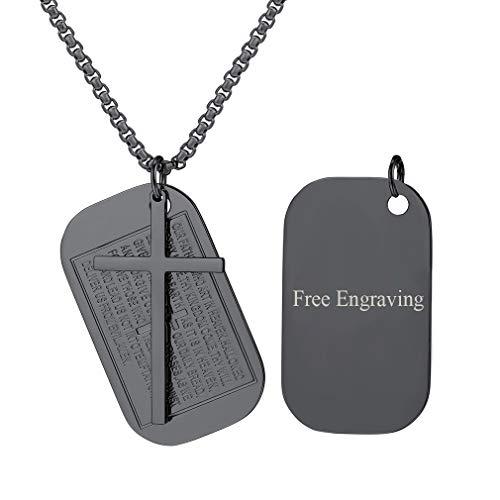 FaithHeart Custom Engraved Cross Pendant Necklace, Jewelry Black