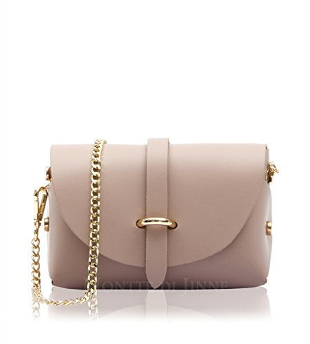 Strap Smoke Metal Crossbody Real Micro Chain Rose With Bag Small Mini Smooth Evening Genuine Shoulder Leather Gold Italian 8UqxawOZ