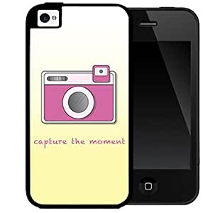 Capture the Moment Quote with Cute Pink Camera and Yellow Gradient Background 2-Piece Dual Layer High Impact Black Silicone Cell Phone Case Cover iPhone i5 5s