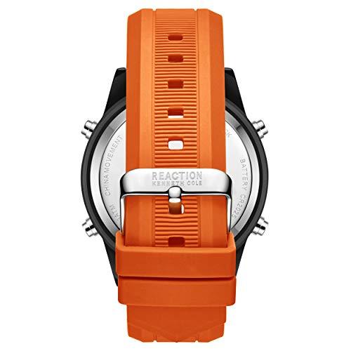 Kenneth Cole Men's Quartz Sport Watch with Silicone Strap, Orange, 24 (Model: RK51107002)