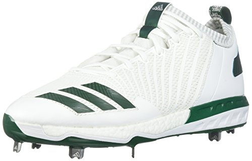 adidas Performance Men's Boost Icon 3 Baseball-Shoes, White/Dark Green/Metallic Silver, 13 Medium US by adidas