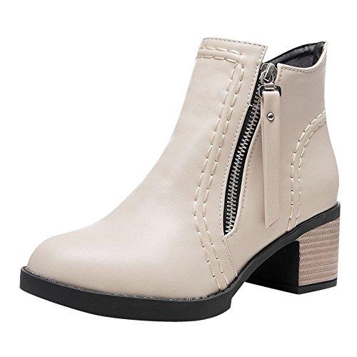 Chic Off Short Heel Casual Western Boots Zippers White Carolbar Mid Women's 5nwTqaxfU