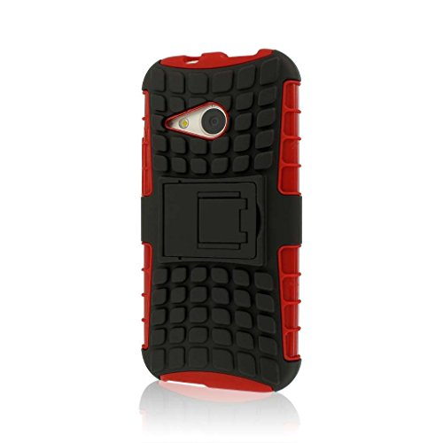 SR Series Kickstand Case for HTC One Mini 2/One Remix - Retail Packaging - Red ()